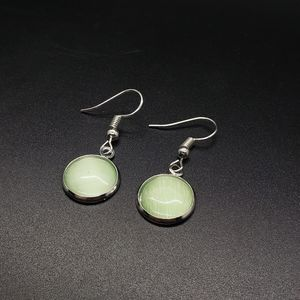 Cats Eye Green Dangle Stud Silver Earrings